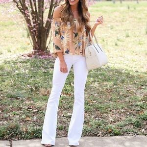 Hudson White Barefoot Mia Flare Jeans